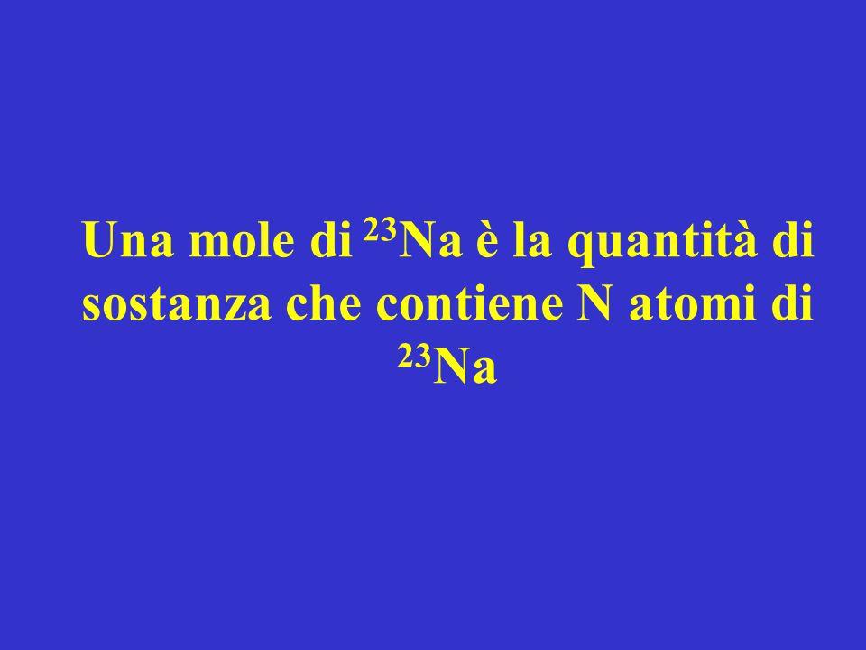 Una mole di 23 Na è la quantità di sostanza che contiene N atomi di 23 Na