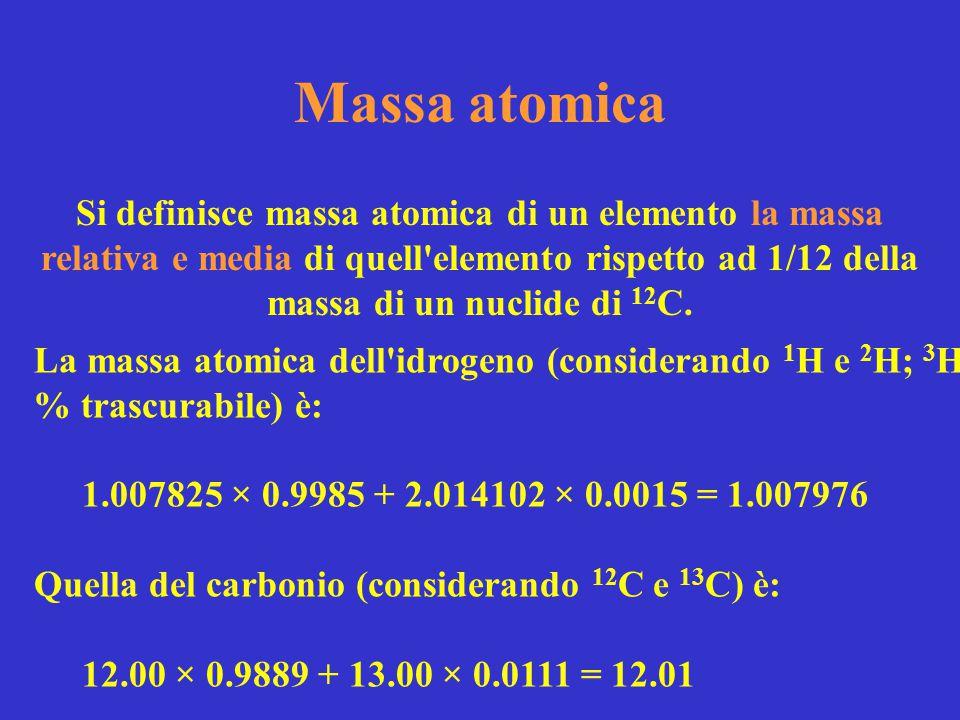 Massa atomica Si definisce massa atomica di un elemento la massa relativa e media di quell'elemento rispetto ad 1/12 della massa di un nuclide di 12 C