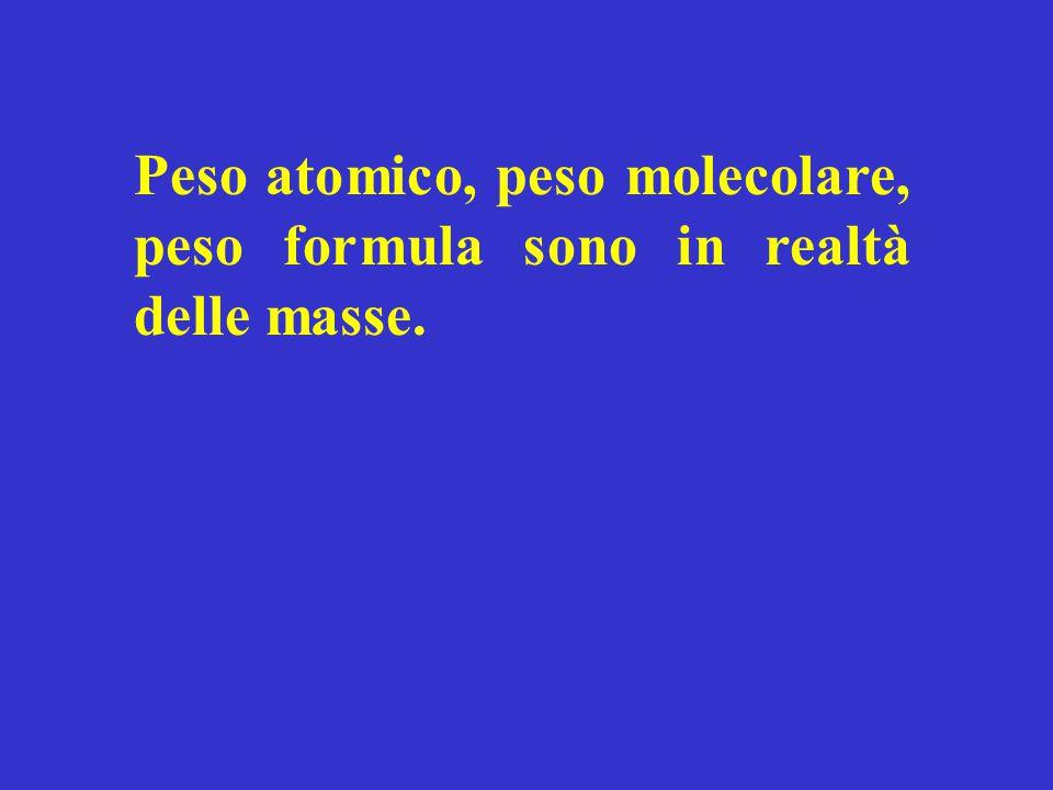 Peso atomico, peso molecolare, peso formula sono in realtà delle masse.