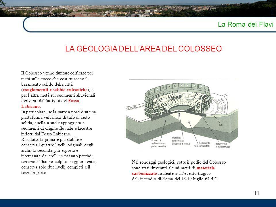 11 La Roma dei Flavi LA GEOLOGIA DELL'AREA DEL COLOSSEO Il Colosseo venne dunque edificato per metà sulle rocce che costituiscono il basamento solido