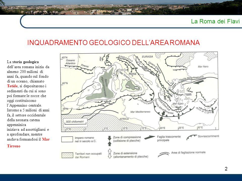 2 La Roma dei Flavi INQUADRAMENTO GEOLOGICO DELL'AREA ROMANA La storia geologica dell'area romana inizia da almeno 200 milioni di anni fa, quando sul