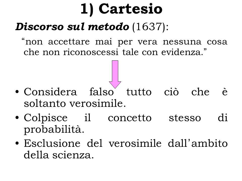 1) Cartesio Discorso sul metodo (1637): non accettare mai per vera nessuna cosa che non riconoscessi tale con evidenza.