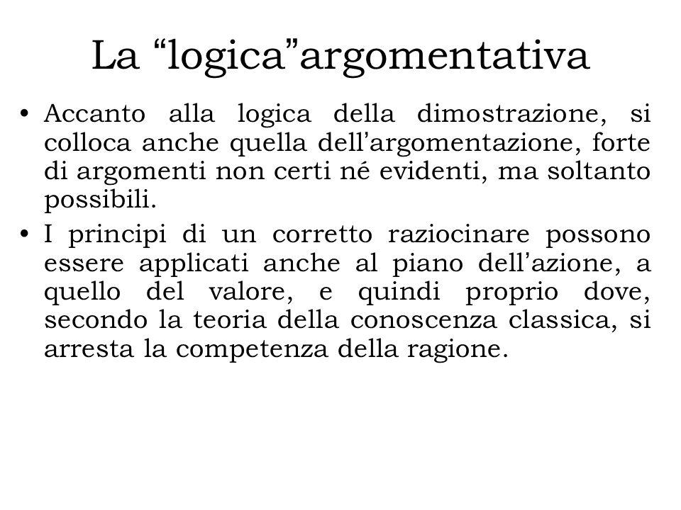 La logica argomentativa Accanto alla logica della dimostrazione, si colloca anche quella dell ' argomentazione, forte di argomenti non certi né evidenti, ma soltanto possibili.