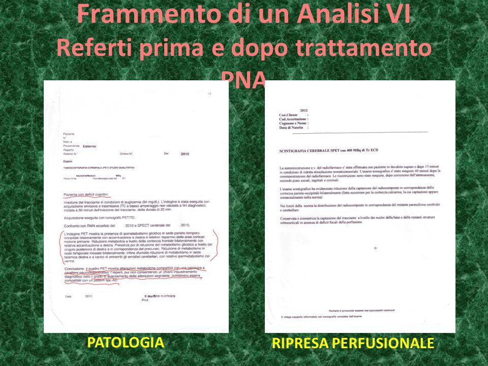 Frammento di un Analisi VI Referti prima e dopo trattamento PNA PATOLOGIA RIPRESA PERFUSIONALE