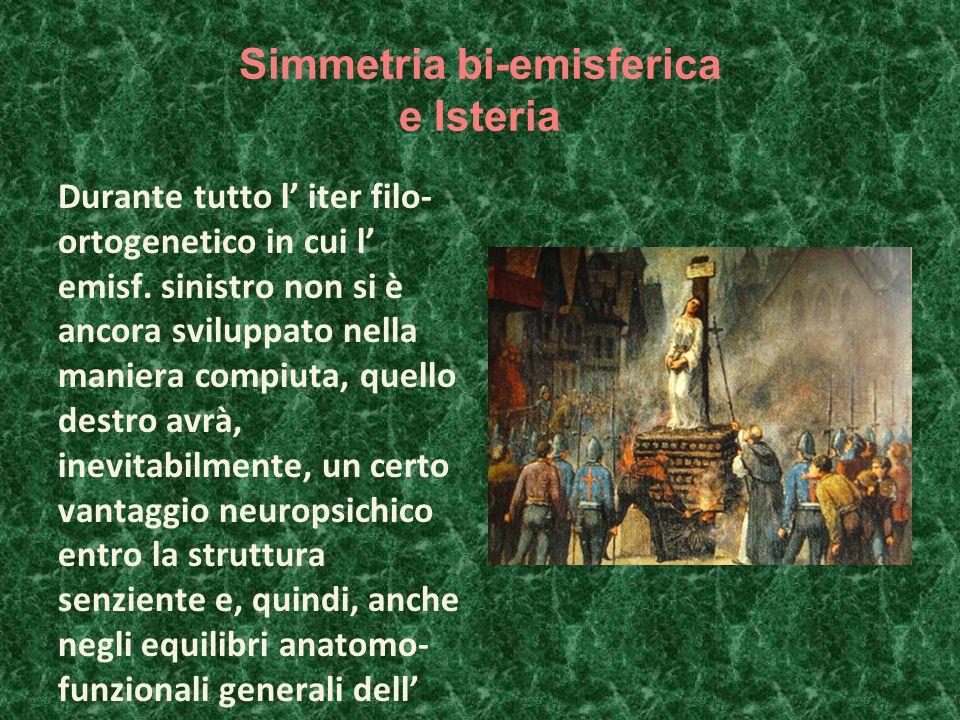 Simmetria bi-emisferica e Isteria Durante tutto l' iter filo- ortogenetico in cui l' emisf.