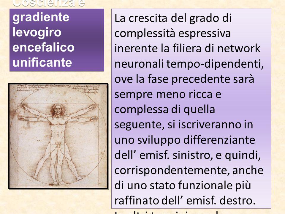 Coscienza e gradiente levogiro encefalico unificante La crescita del grado di complessità espressiva inerente la filiera di network neuronali tempo-di