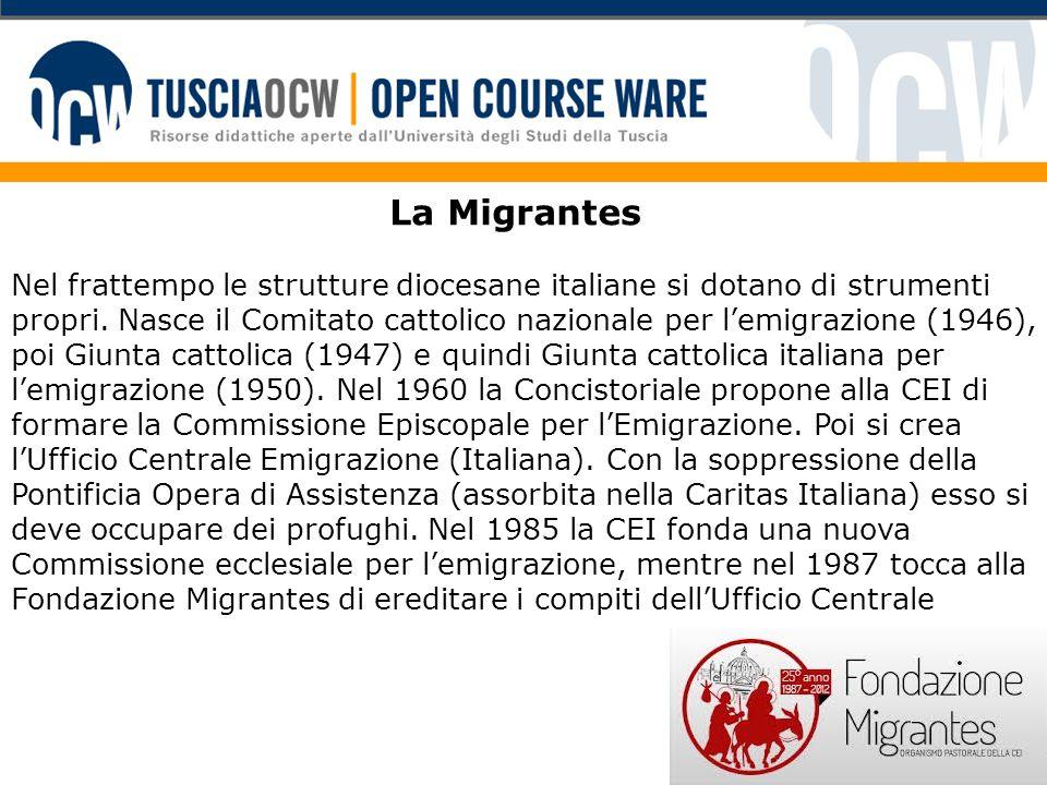 La Migrantes Nel frattempo le strutture diocesane italiane si dotano di strumenti propri. Nasce il Comitato cattolico nazionale per l'emigrazione (194