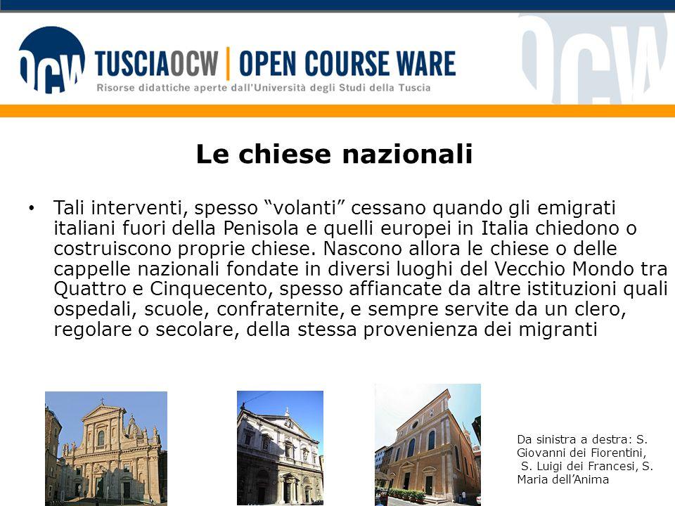 """Le chiese nazionali Tali interventi, spesso """"volanti"""" cessano quando gli emigrati italiani fuori della Penisola e quelli europei in Italia chiedono o"""