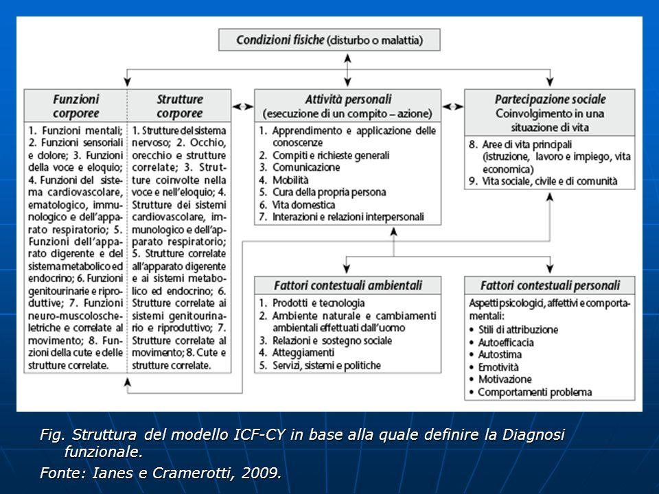 Fig. Struttura del modello ICF-CY in base alla quale definire la Diagnosi funzionale. Fonte: Ianes e Cramerotti, 2009.
