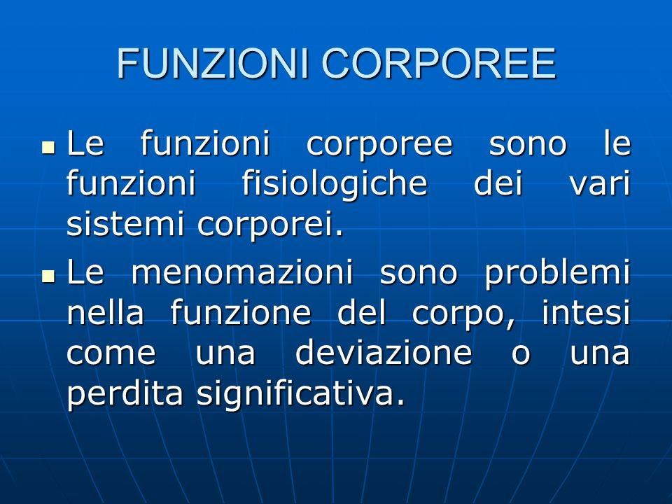 FUNZIONI CORPOREE Le funzioni corporee sono le funzioni fisiologiche dei vari sistemi corporei.