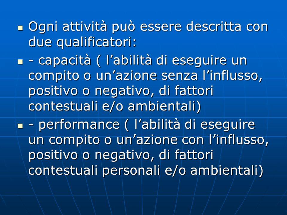Ogni attività può essere descritta con due qualificatori: Ogni attività può essere descritta con due qualificatori: - capacità ( l'abilità di eseguire