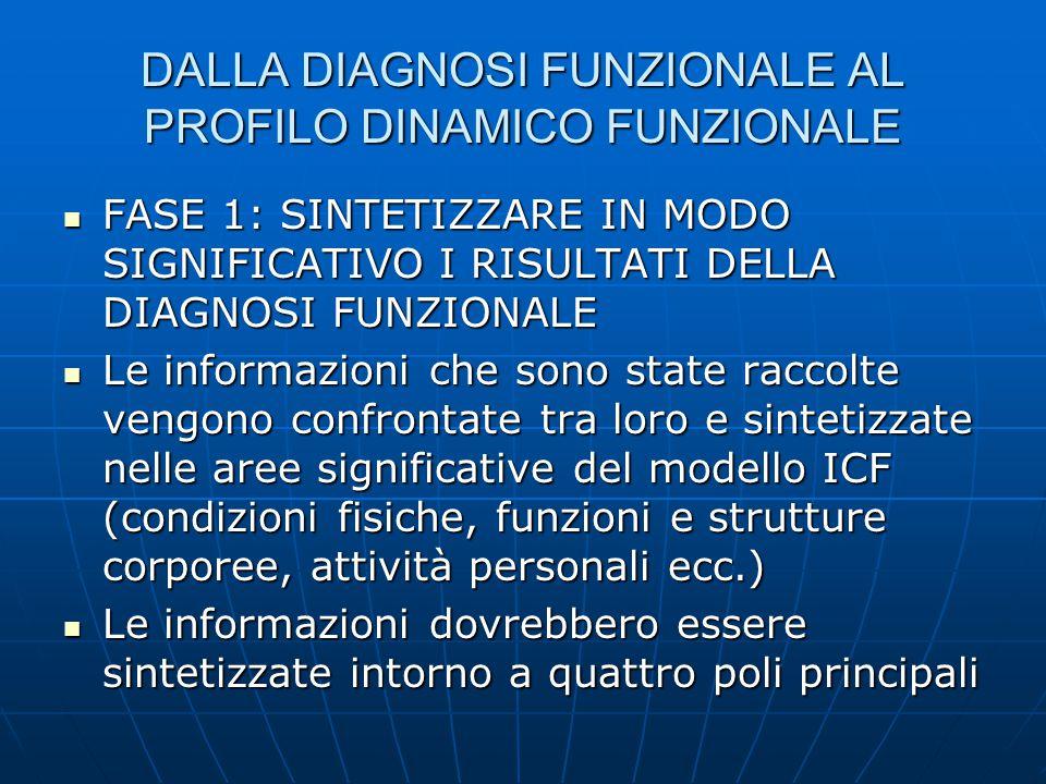 DALLA DIAGNOSI FUNZIONALE AL PROFILO DINAMICO FUNZIONALE FASE 1: SINTETIZZARE IN MODO SIGNIFICATIVO I RISULTATI DELLA DIAGNOSI FUNZIONALE FASE 1: SINT