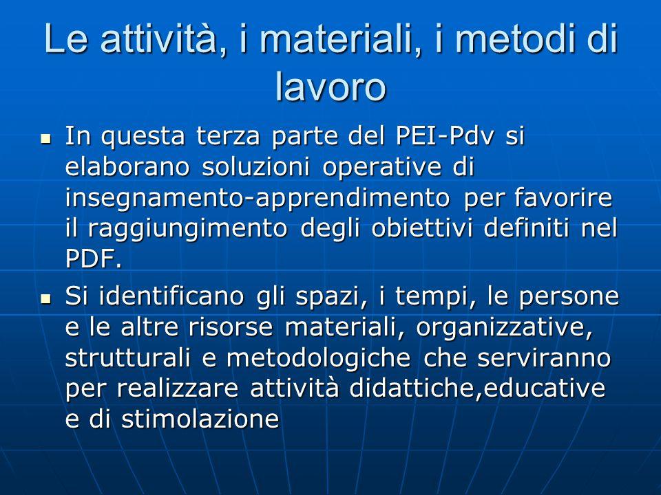 Le attività, i materiali, i metodi di lavoro In questa terza parte del PEI-Pdv si elaborano soluzioni operative di insegnamento-apprendimento per favorire il raggiungimento degli obiettivi definiti nel PDF.