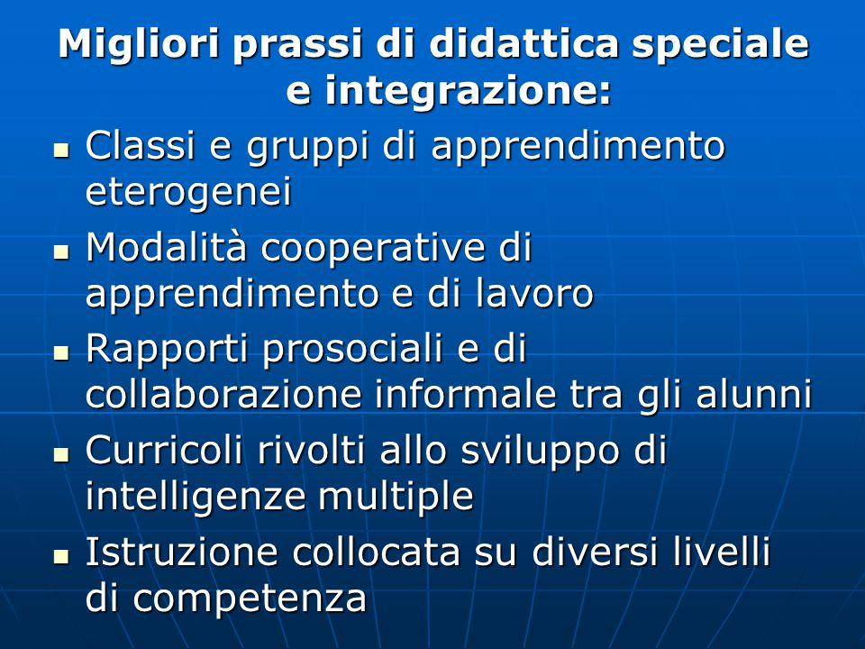 Migliori prassi di didattica speciale e integrazione: Classi e gruppi di apprendimento eterogenei Classi e gruppi di apprendimento eterogenei Modalità