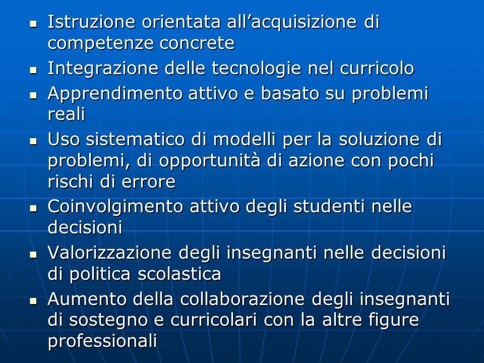 Istruzione orientata all'acquisizione di competenze concrete Istruzione orientata all'acquisizione di competenze concrete Integrazione delle tecnologi