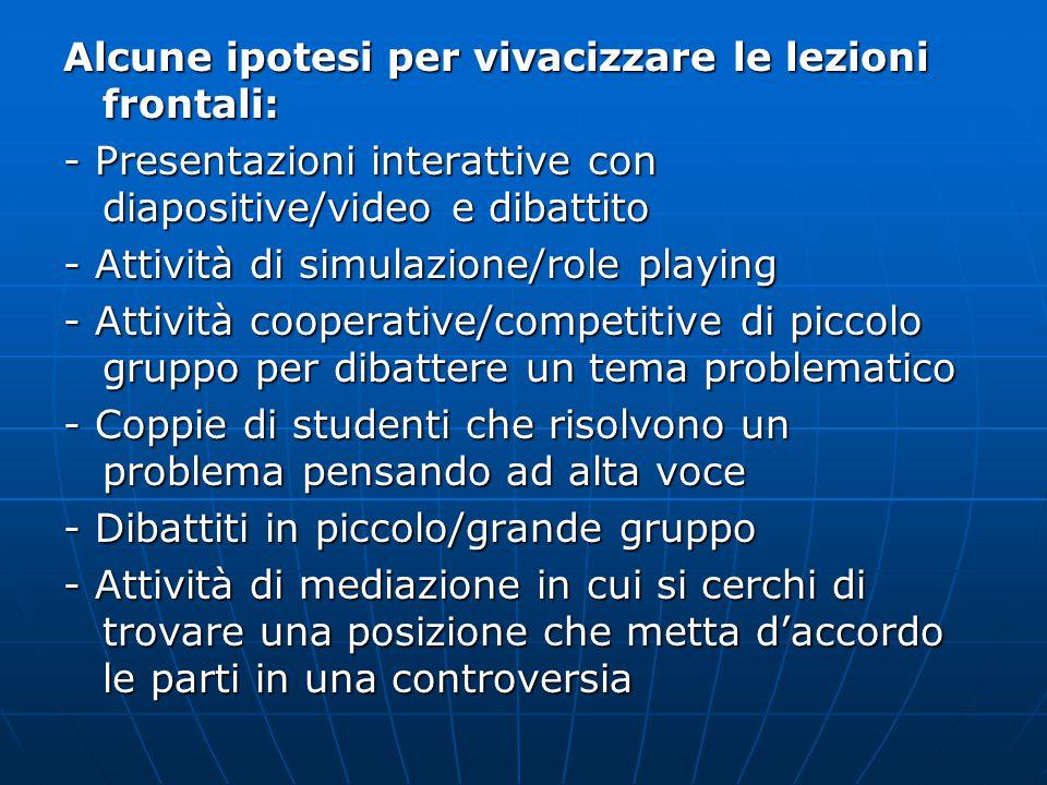 Alcune ipotesi per vivacizzare le lezioni frontali: - Presentazioni interattive con diapositive/video e dibattito - Attività di simulazione/role playi