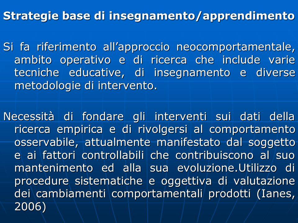 Strategie base di insegnamento/apprendimento Si fa riferimento all'approccio neocomportamentale, ambito operativo e di ricerca che include varie tecni