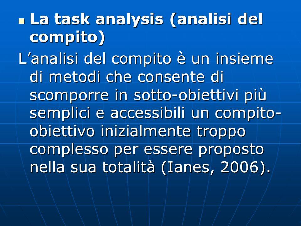 La task analysis (analisi del compito) La task analysis (analisi del compito) L'analisi del compito è un insieme di metodi che consente di scomporre in sotto-obiettivi più semplici e accessibili un compito- obiettivo inizialmente troppo complesso per essere proposto nella sua totalità (Ianes, 2006).