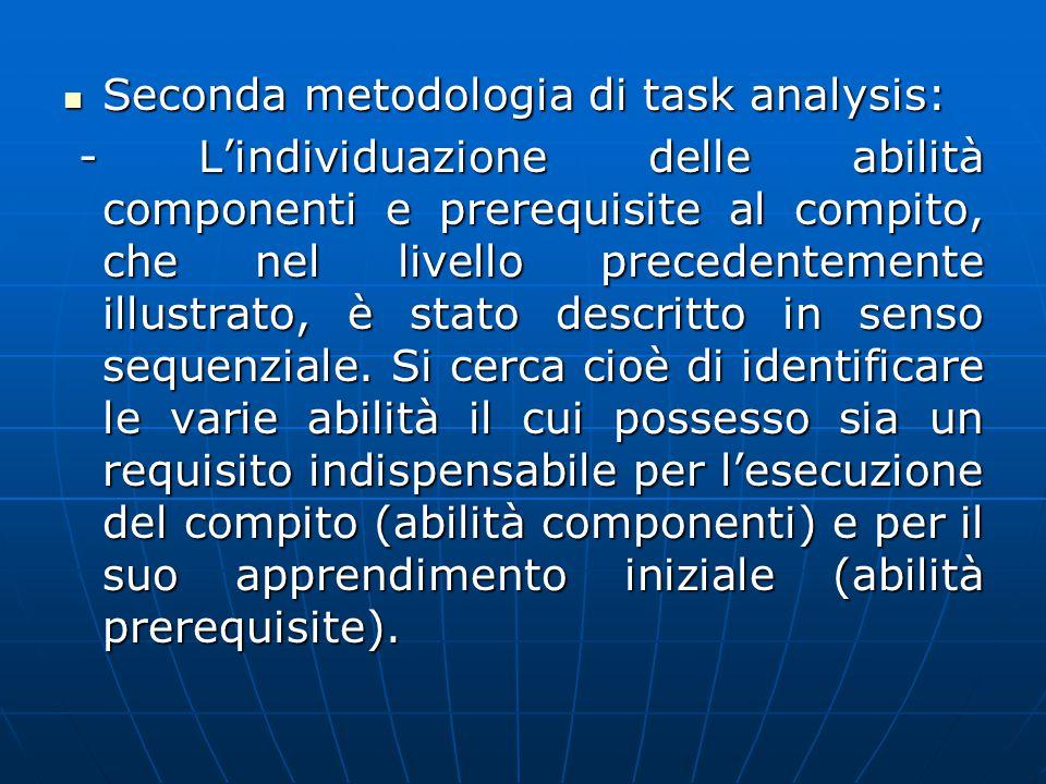 Seconda metodologia di task analysis: Seconda metodologia di task analysis: - L'individuazione delle abilità componenti e prerequisite al compito, che nel livello precedentemente illustrato, è stato descritto in senso sequenziale.