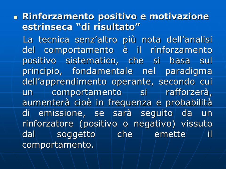 """Rinforzamento positivo e motivazione estrinseca """"di risultato"""" Rinforzamento positivo e motivazione estrinseca """"di risultato"""" La tecnica senz'altro pi"""
