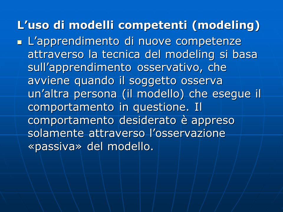 L'uso di modelli competenti (modeling) L'apprendimento di nuove competenze attraverso la tecnica del modeling si basa sull'apprendimento osservativo, che avviene quando il soggetto osserva un'altra persona (il modello) che esegue il comportamento in questione.