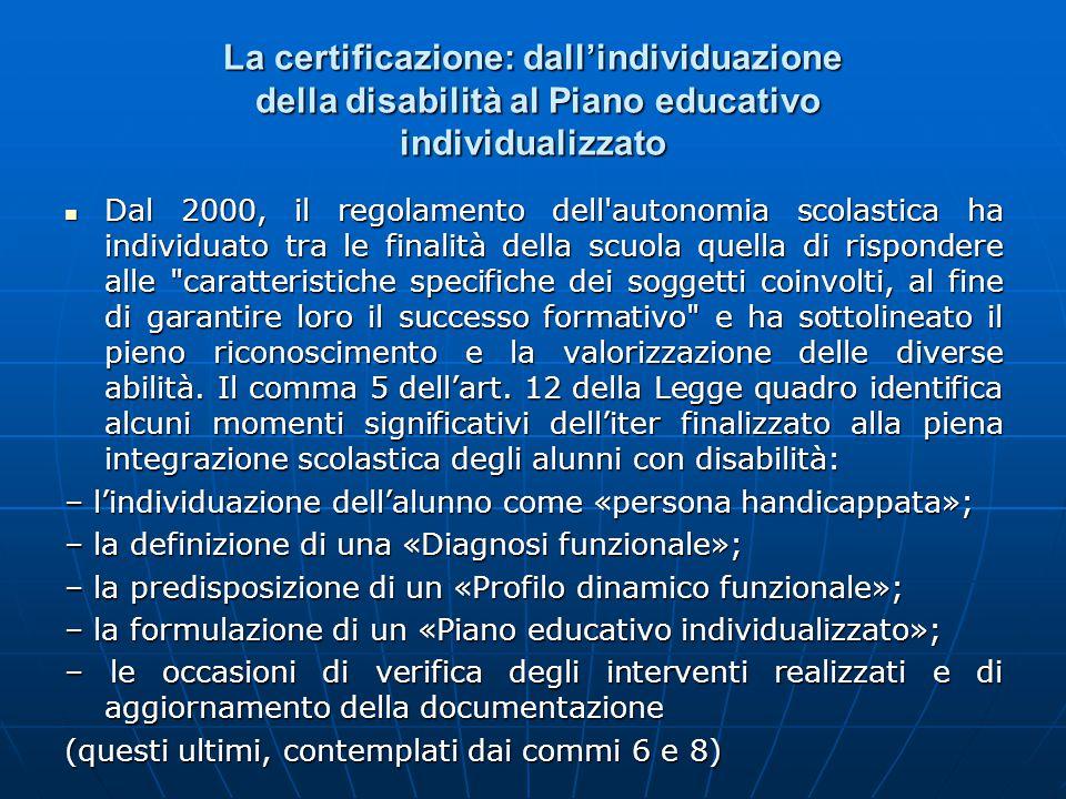 La certificazione: dall'individuazione della disabilità al Piano educativo individualizzato Dal 2000, il regolamento dell'autonomia scolastica ha indi