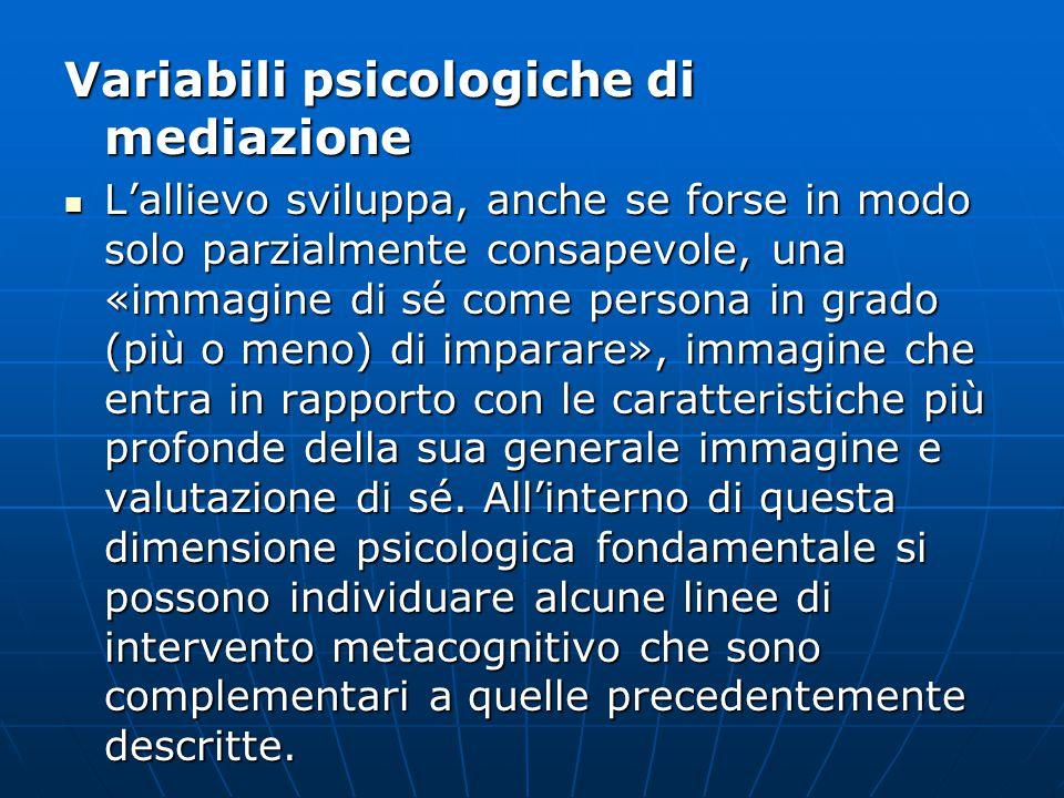 Variabili psicologiche di mediazione L'allievo sviluppa, anche se forse in modo solo parzialmente consapevole, una «immagine di sé come persona in gra