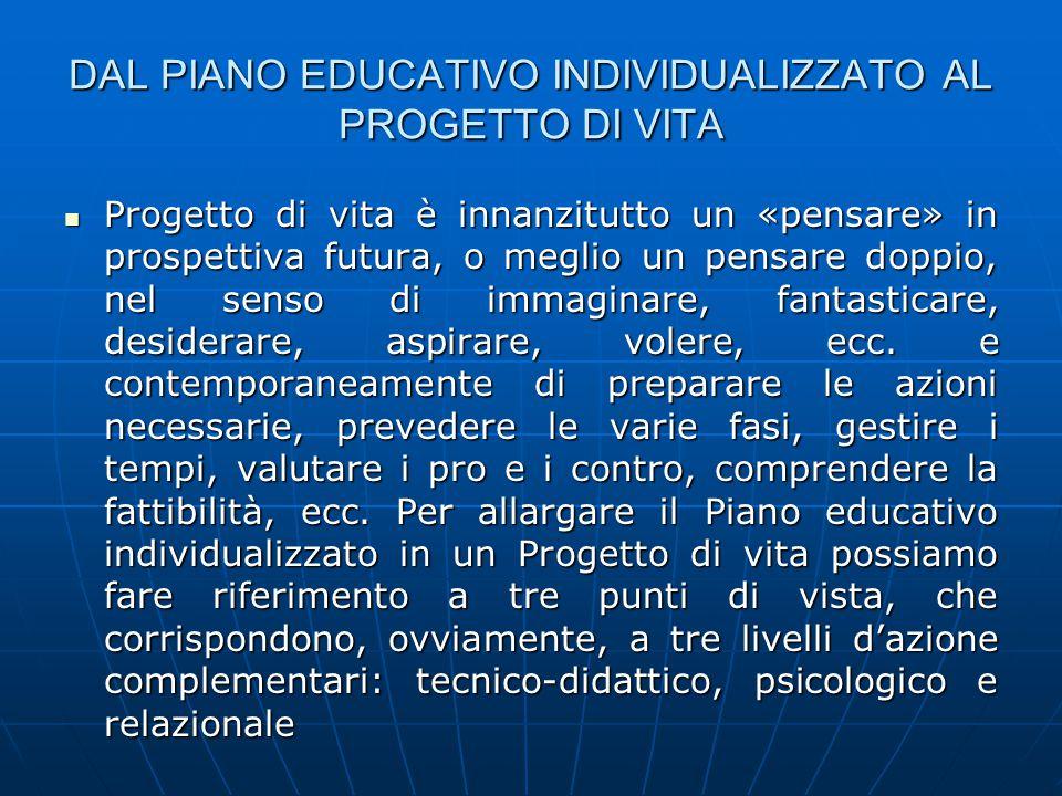 DAL PIANO EDUCATIVO INDIVIDUALIZZATO AL PROGETTO DI VITA Progetto di vita è innanzitutto un «pensare» in prospettiva futura, o meglio un pensare doppi