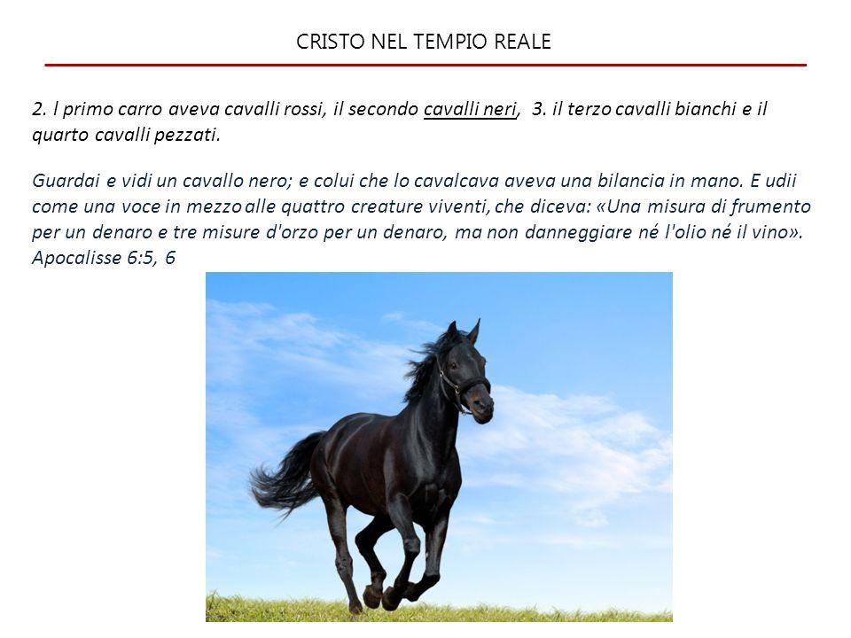 CRISTO NEL TEMPIO REALE 2.l primo carro aveva cavalli rossi, il secondo cavalli neri, 3.