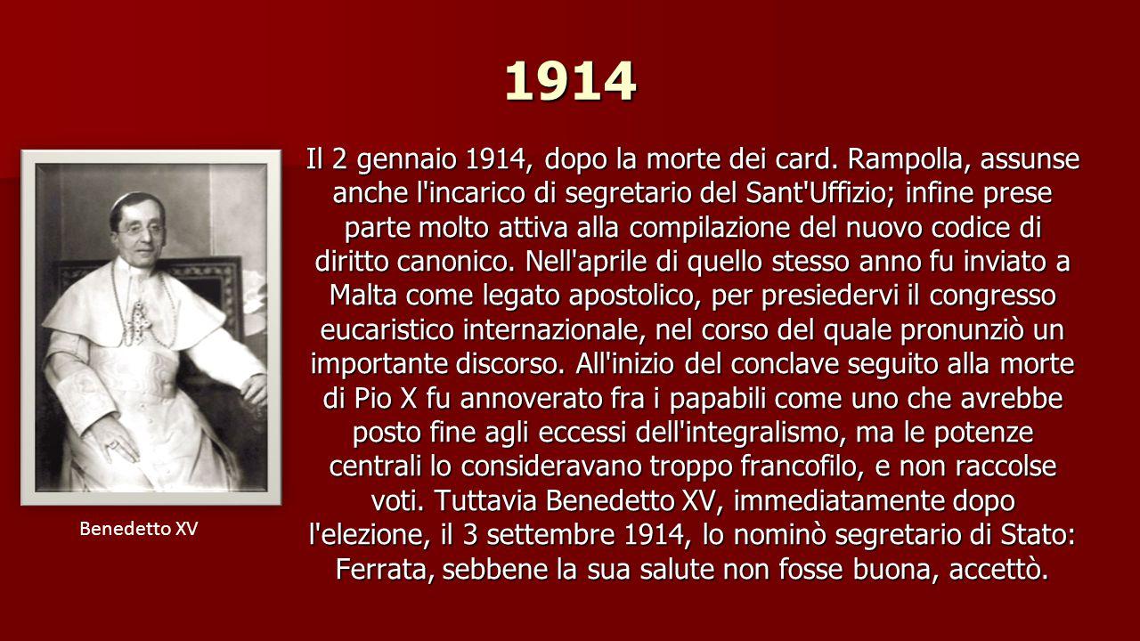 1896 - 1913 A Roma, grande attività svolse nella congregazione dei Riti promuovendo cause di vasta risonanza, specialmente in Francia, come quelle di canonizzazione di Giovanna d Arco e di Bernadette Soubirous.