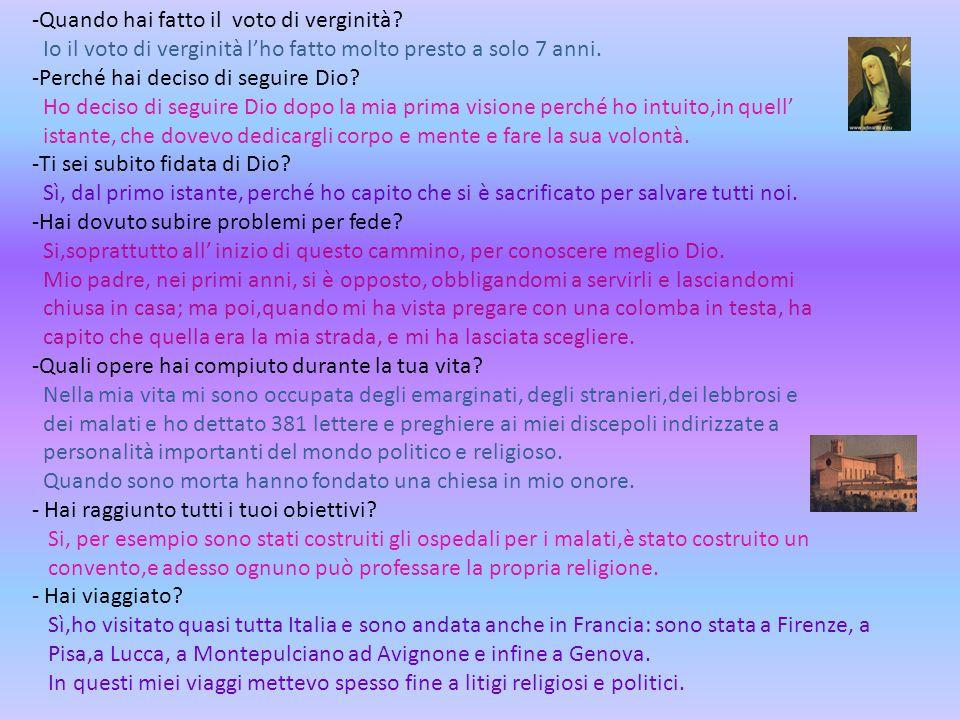 Intervista virtuale Ciao Caterina, come stai? Possiamo farti alcune domande? Si,certamente Sai devi sapere che noi siamo ragazze molto curiose e vorre