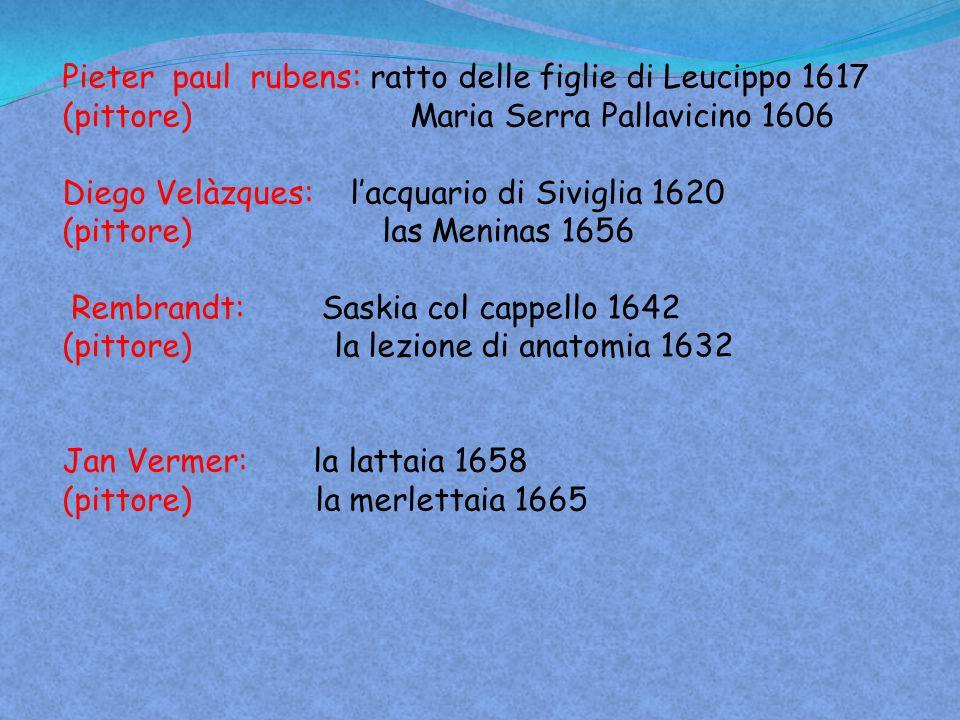 Pieter paul rubens: ratto delle figlie di Leucippo 1617 (pittore) Maria Serra Pallavicino 1606 Diego Velàzques: l'acquario di Siviglia 1620 (pittore)