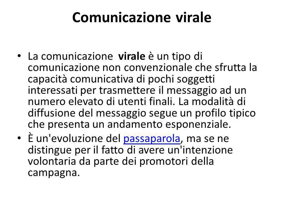 Comunicazione virale La comunicazione virale è un tipo di comunicazione non convenzionale che sfrutta la capacità comunicativa di pochi soggetti interessati per trasmettere il messaggio ad un numero elevato di utenti finali.
