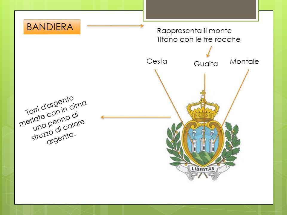 BANDIERA Rappresenta il monte Titano con le tre rocche Cesta Guaita Montale T o r r i d a r g e n t o m e r l a t e c o n i n c i m a u n a p e n n a d i s t r u z z o d i c o l o r e a r g e n t o.