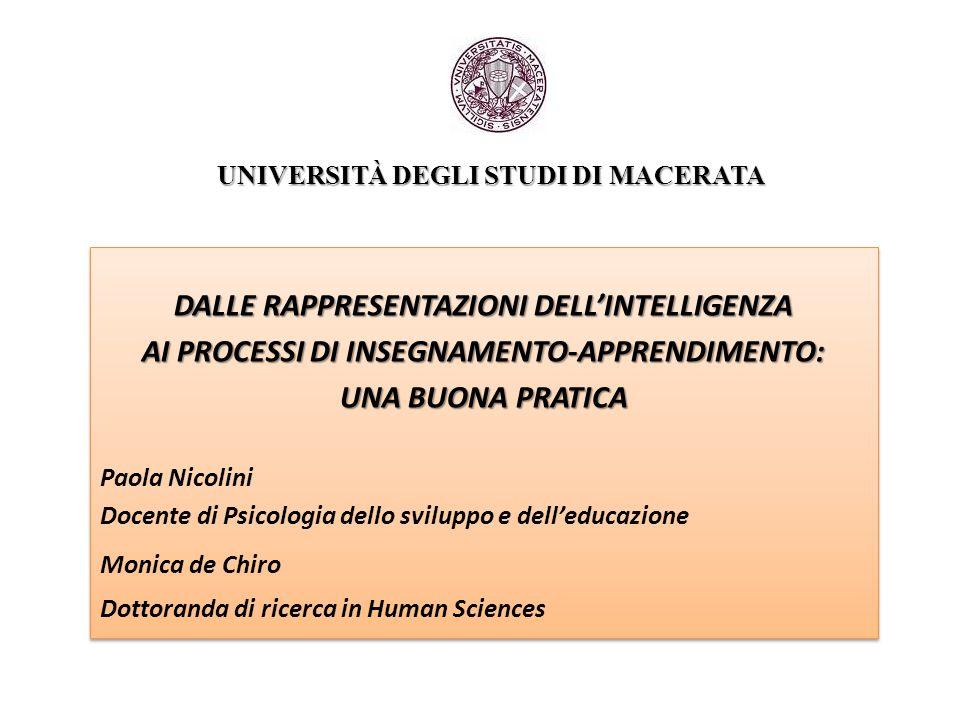 UNIVERSITÀ DEGLI STUDI DI MACERATA UNIVERSITÀ DEGLI STUDI DI MACERATA DALLE RAPPRESENTAZIONI DELL'INTELLIGENZA AI PROCESSI DI INSEGNAMENTO-APPRENDIMEN