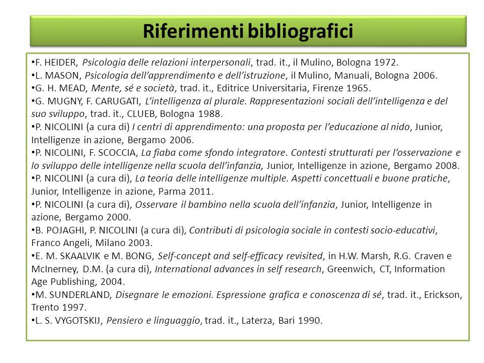 F. HEIDER, Psicologia delle relazioni interpersonali, trad. it., il Mulino, Bologna 1972. L. MASON, Psicologia dell'apprendimento e dell'istruzione, i