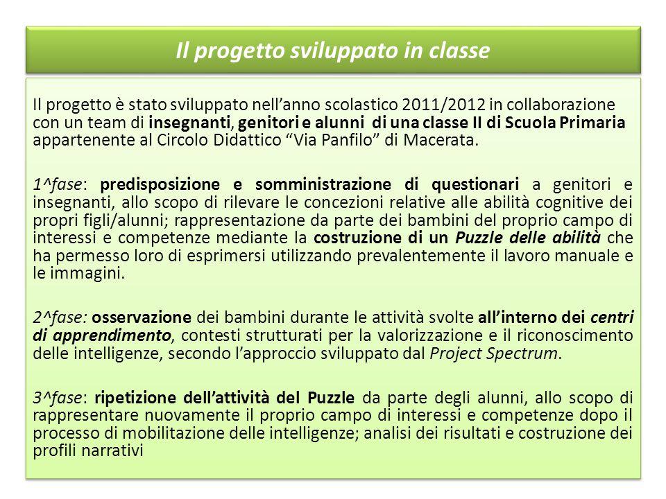 Il progetto sviluppato in classe Il progetto è stato sviluppato nell'anno scolastico 2011/2012 in collaborazione con un team di insegnanti, genitori e