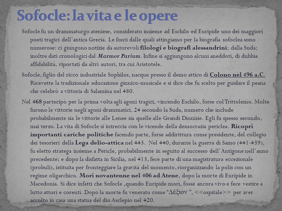 Sofocle fu un drammaturgo ateniese, considerato insieme ad Eschilo ed Euripide uno dei maggiori poeti tragici dell'antica Grecia. Le fonti dalle quali