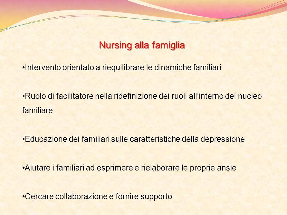 Nursing alla famiglia Intervento orientato a riequilibrare le dinamiche familiari Ruolo di facilitatore nella ridefinizione dei ruoli all'interno del