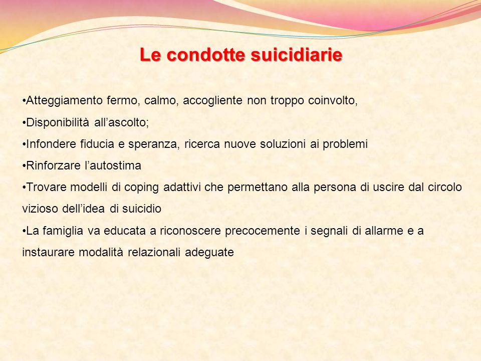 Le condotte suicidiarie Atteggiamento fermo, calmo, accogliente non troppo coinvolto, Disponibilità all'ascolto; Infondere fiducia e speranza, ricerca