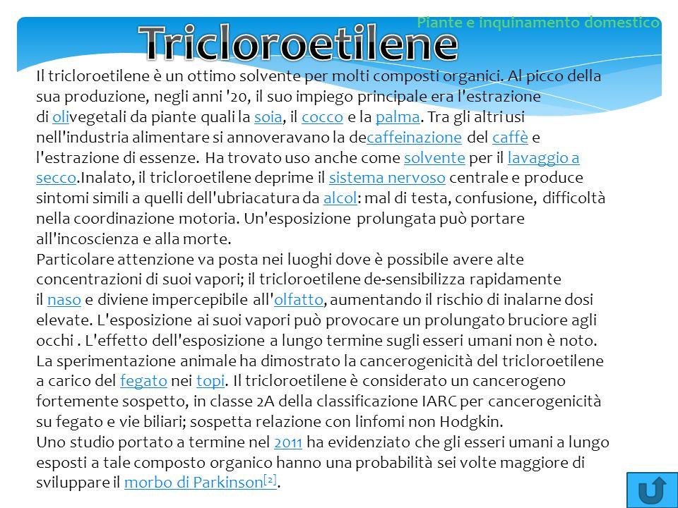 Il tricloroetilene è un ottimo solvente per molti composti organici. Al picco della sua produzione, negli anni '20, il suo impiego principale era l'es