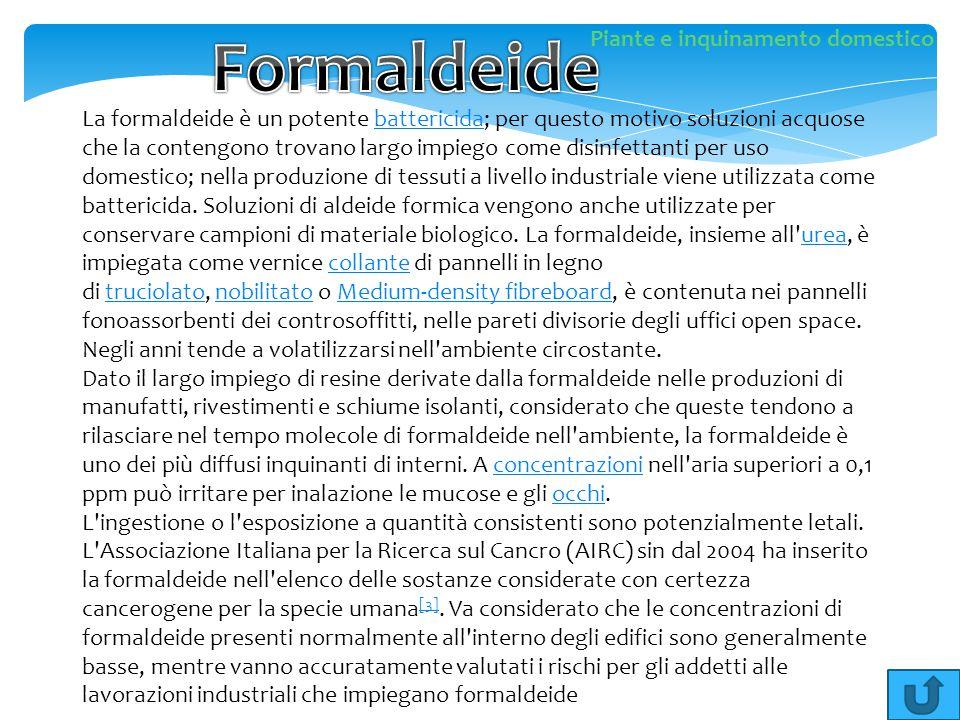 La formaldeide è un potente battericida; per questo motivo soluzioni acquose che la contengono trovano largo impiego come disinfettanti per uso domest