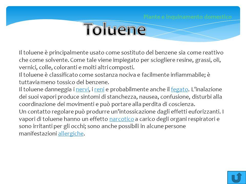 Il toluene è principalmente usato come sostituto del benzene sia come reattivo che come solvente. Come tale viene impiegato per sciogliere resine, gra