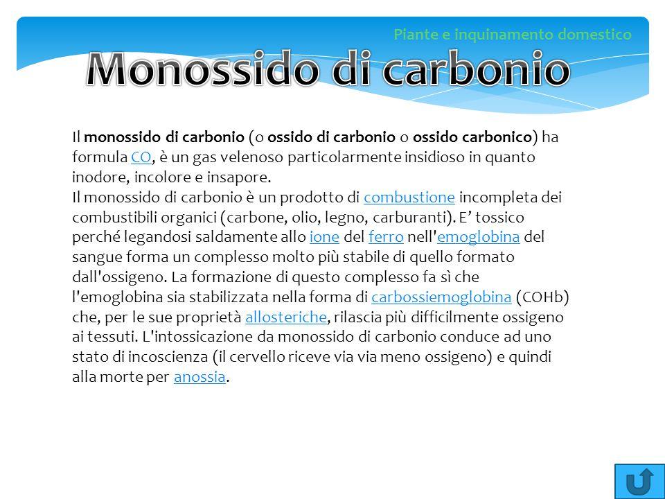 Il monossido di carbonio (o ossido di carbonio o ossido carbonico) ha formula CO, è un gas velenoso particolarmente insidioso in quanto inodore, incol