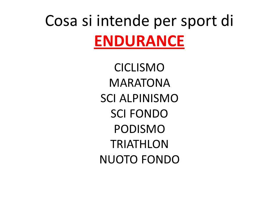 Cosa si intende per sport di ENDURANCE CICLISMO MARATONA SCI ALPINISMO SCI FONDO PODISMO TRIATHLON NUOTO FONDO