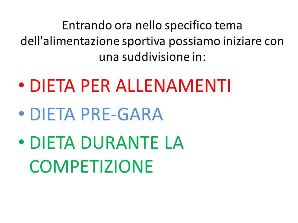 Entrando ora nello specifico tema dell'alimentazione sportiva possiamo iniziare con una suddivisione in: DIETA PER ALLENAMENTI DIETA PRE-GARA DIETA DU