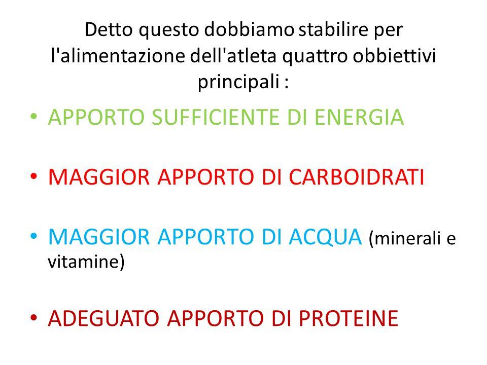 Detto questo dobbiamo stabilire per l'alimentazione dell'atleta quattro obbiettivi principali : APPORTO SUFFICIENTE DI ENERGIA MAGGIOR APPORTO DI CARB