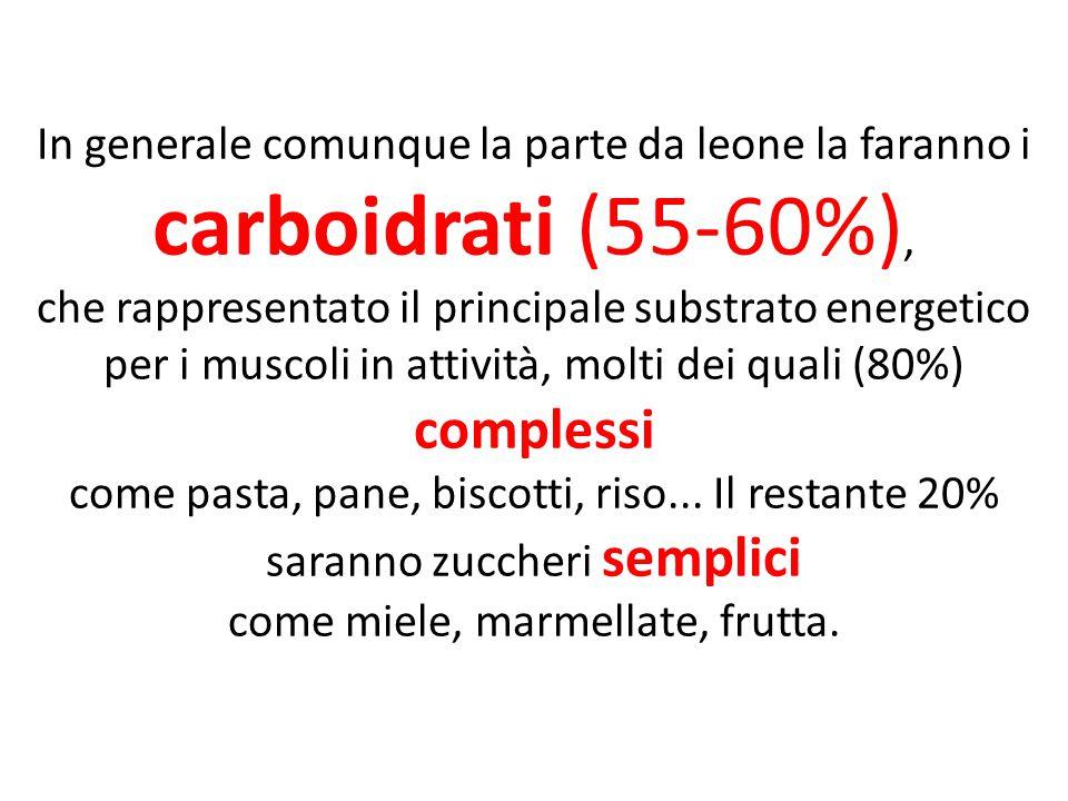 In generale comunque la parte da leone la faranno i carboidrati (55-60%), che rappresentato il principale substrato energetico per i muscoli in attivi