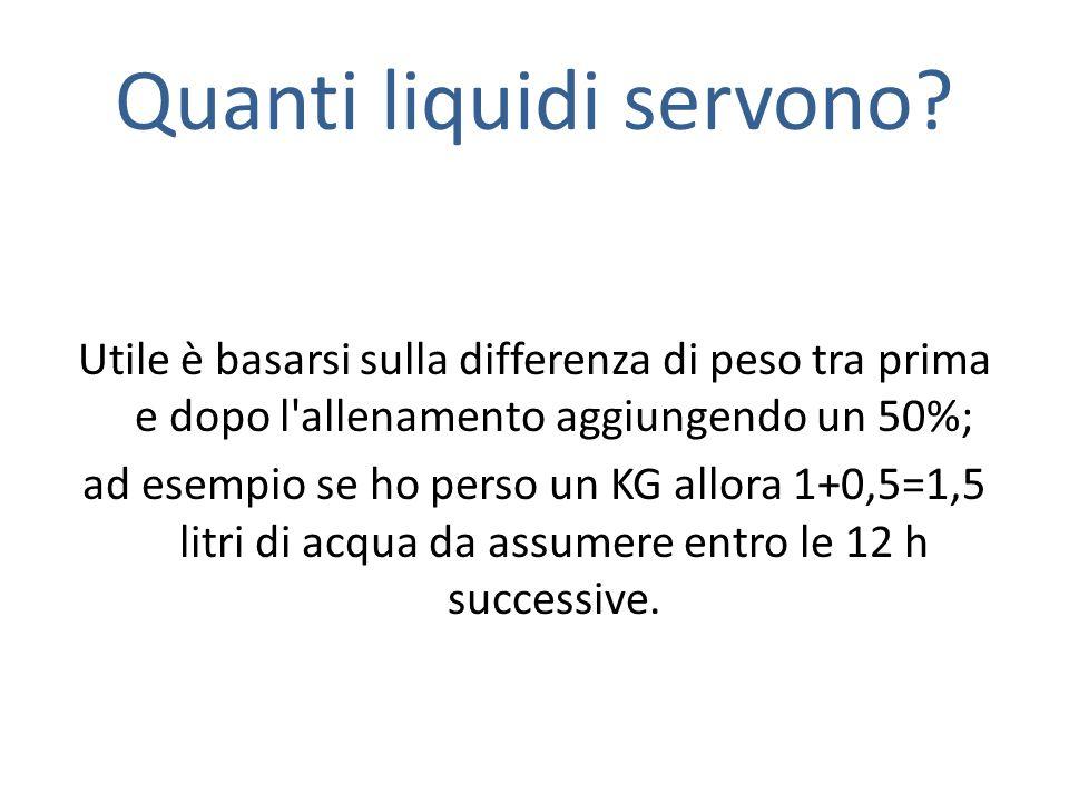 Quanti liquidi servono? Utile è basarsi sulla differenza di peso tra prima e dopo l'allenamento aggiungendo un 50%; ad esempio se ho perso un KG allor
