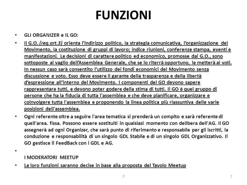 FUNZIONI GLI ORGANIZER e IL GO: Il G.O. (reg.art.3) orienta l'indirizzo politico, la strategia comunicativa, l'organizzazione del Movimento, la costit
